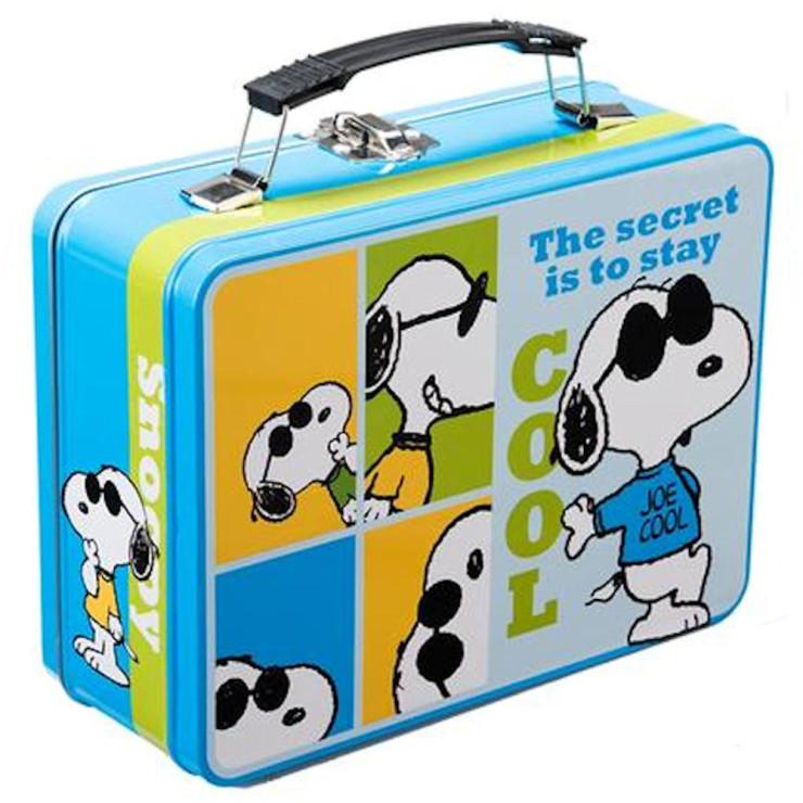 Peanuts Joe Cool Large Lunch Box Tin Tote Retroactives Com