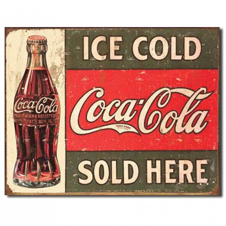 COKE Coca Cola Real Thing Bottle Tin Sign Metal Poster