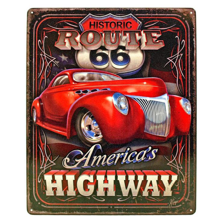 Chicago Los Angeles Vintage Tin Signes route 66 en métal Art Mural Poster Decor