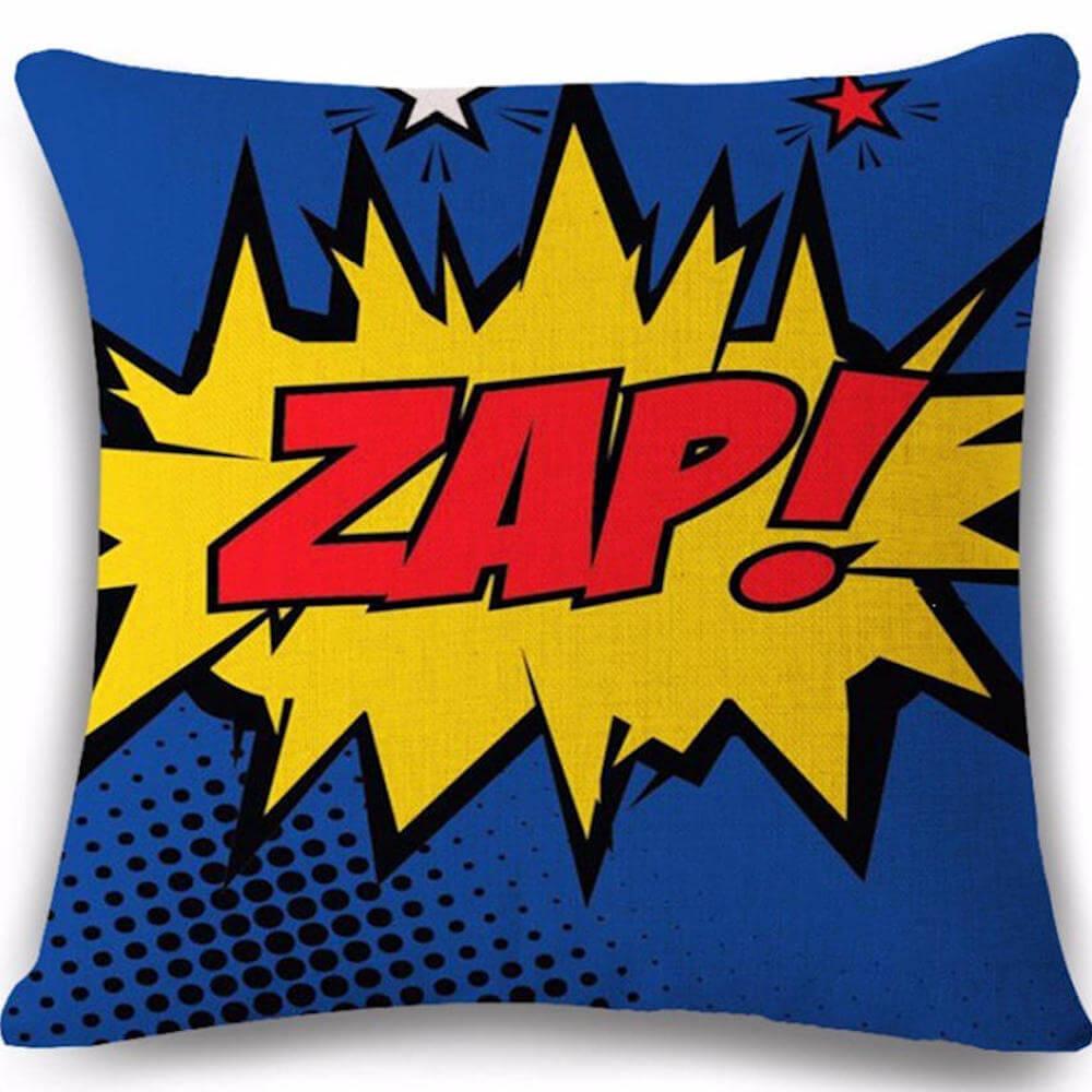 Pop Art Comic Red Zap Decorative Throw Pillow