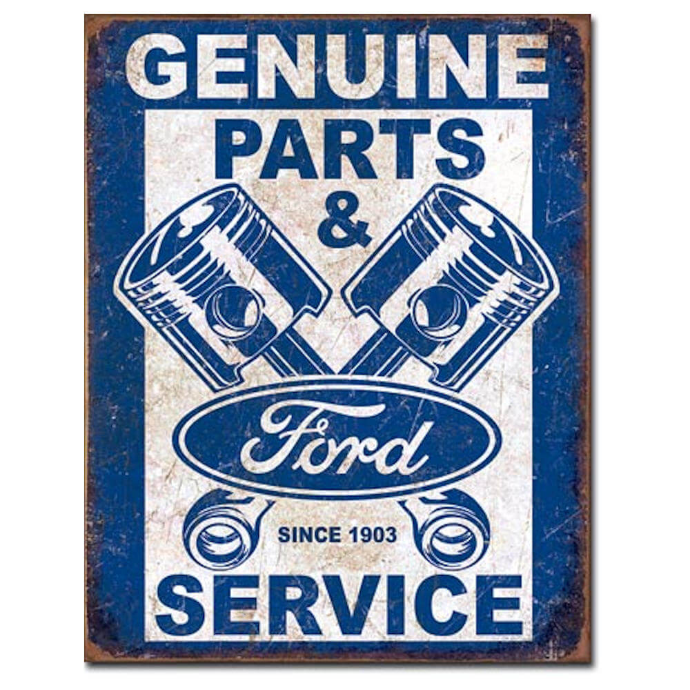 Ford Genuine Parts Used Here Metal Tin Sign Logo Garage Decor Wall Vintage Car